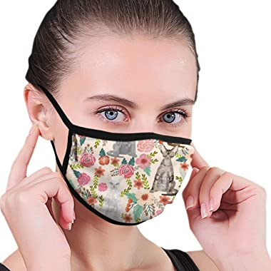 Hailiy Unisex Anti Pollution Dust Cloth Mask Breathable Washable and Reusable,Devon Rex Cat Breed Florals Cute Pet Breed Cream Face Protect Cover Bandanas for Teens and Adults
