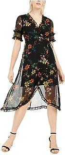 KENSIE Womens Black 3/4 Sleeve V Neck Knee Length Fit + Flare Cocktail Dress AU Size:10
