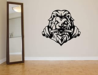 Vinyl Sticker Lion Dumbbell Muscles Sport Fitness Club Work Out Strong Gym Mural Decal Wall Art Decor EH1157