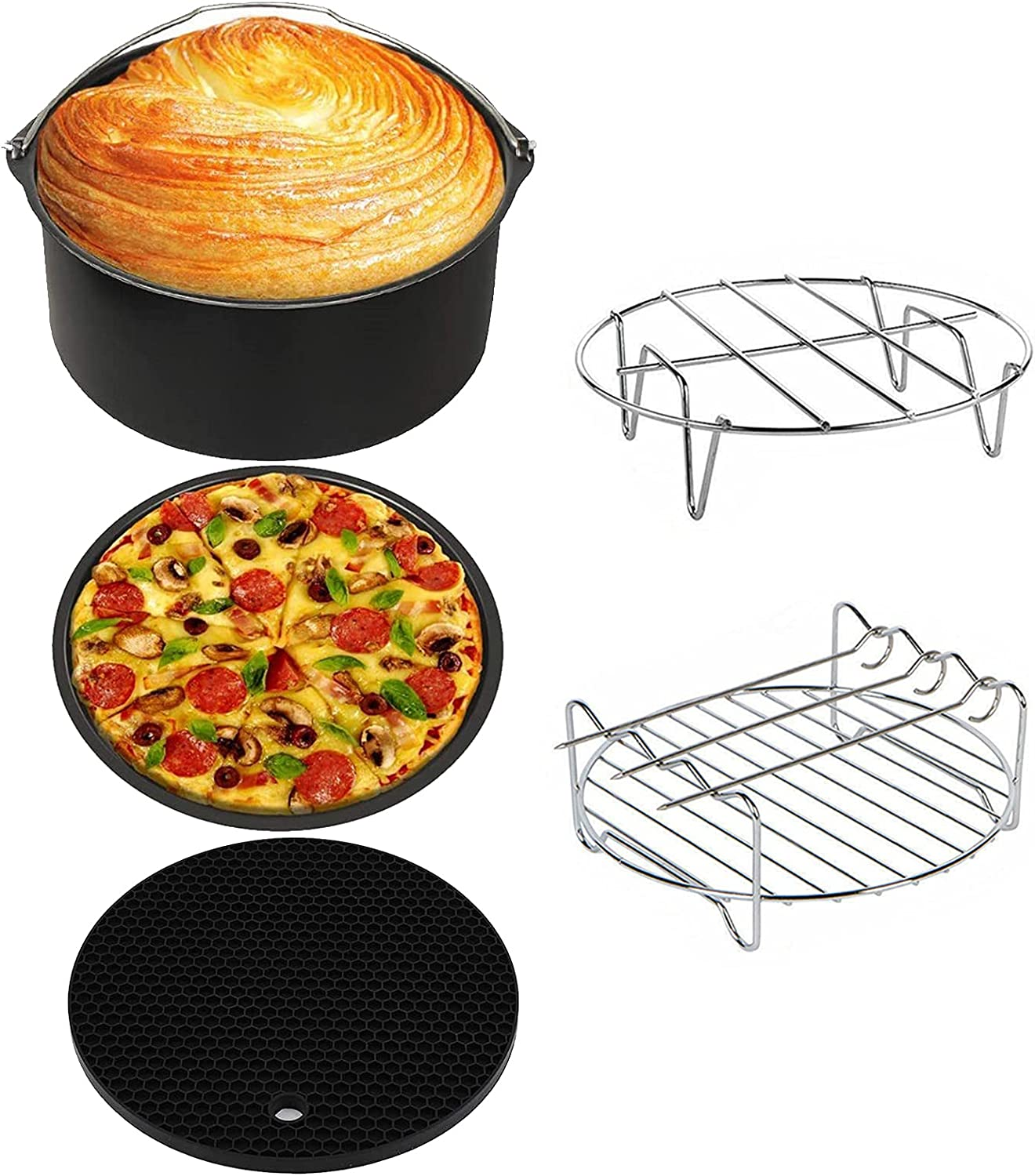 7 Inch Air Fryer Accessories 5 Pcs for Philips Ninja Gowise Gourmia, Fit all 3.2QT-3.7QT-4.2 Quarts Air Fryers with Cake & Pizza Pan, Skewer Rack, Metal Holder, Silicone Mat, Dishwasher Safe