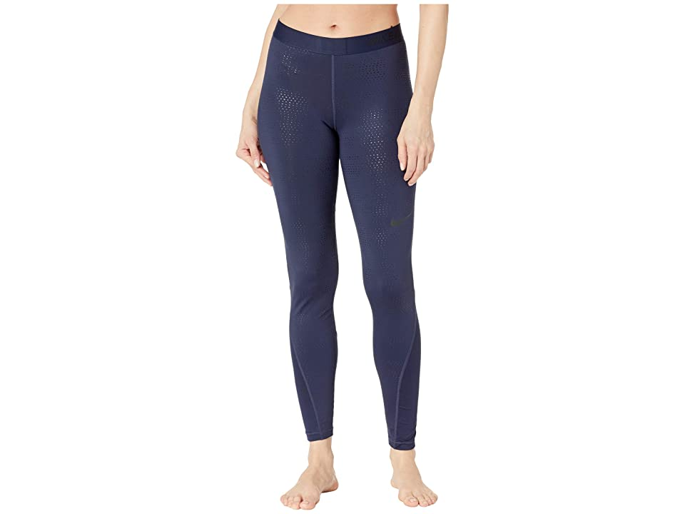 Nike Pro Metallic Dots Print Tights (Obsidian/Black) Women