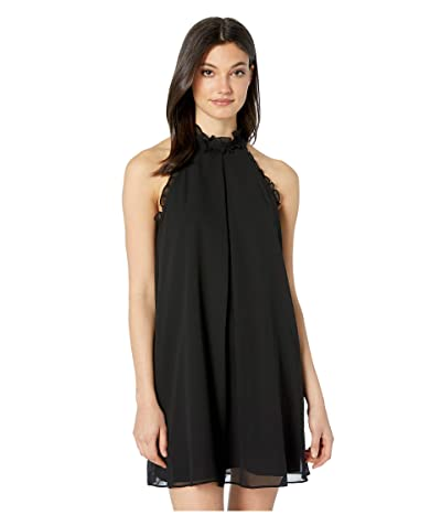 BCBGeneration Ruffle Trimmed A-Line Dress VDW60O13 (Black) Women