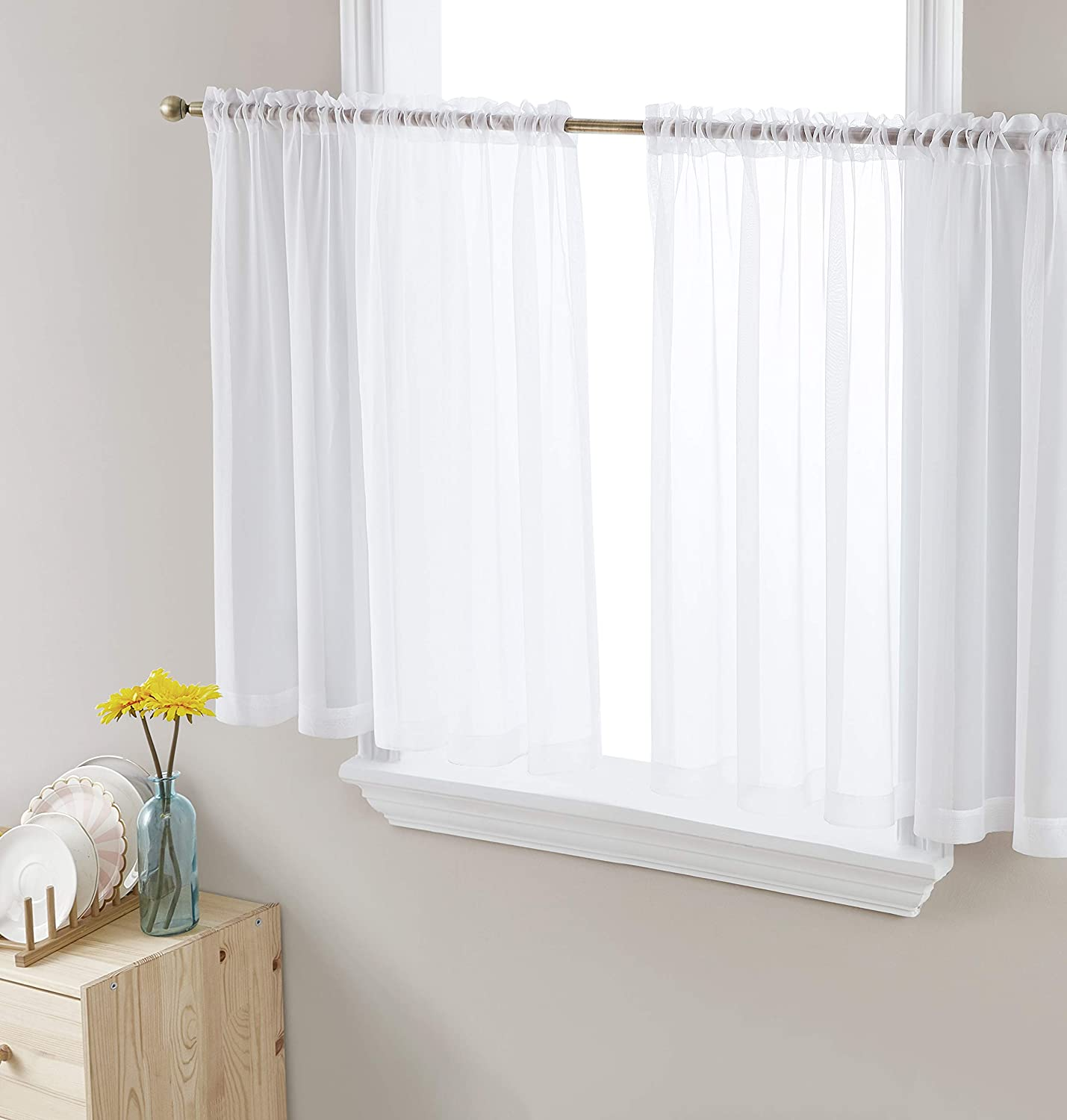 HLC.ME White 67% OFF of fixed price Window Curtain Limited price sale Short Sheer Cafe Pocket Voile Rod Ti
