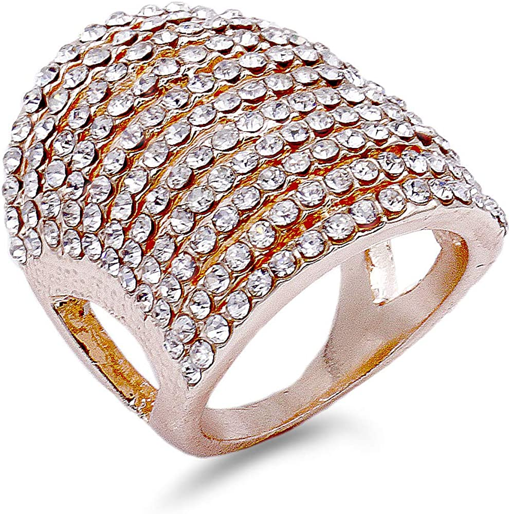 Lavencious 11 Rows Fashion Crystal Cocktail Rings for Women Size 5 to 12