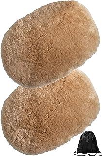 Miya 洗車用 ムートングローブ 2個セット 100%オーストラリア羊毛 ムートンブラシ 手洗い洗車用モップ プロ仕様 (ラクダ色)