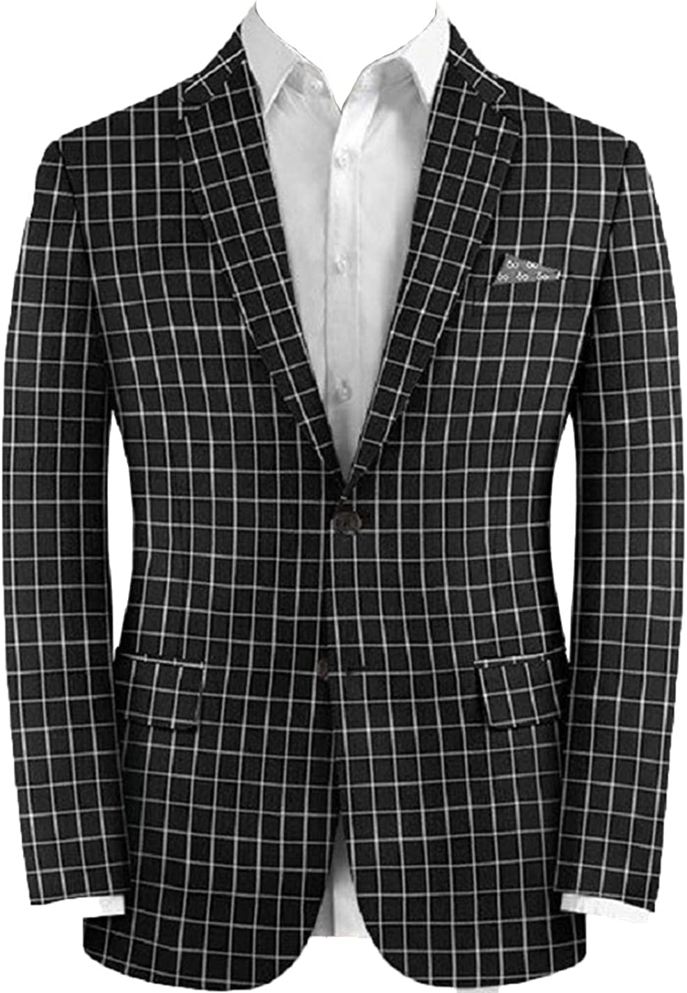 Men's Plaid Blazer Notched Lapel Single Breasted Slim Fit Two Buttons Black