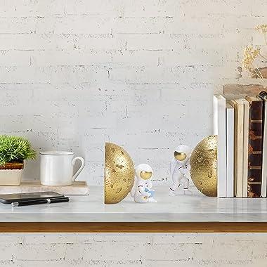 Banllis Astronaut Decorative Bookend Book Ends for Office Decorative Bookends for Shelves, Book Holders for Shelves, Bookends