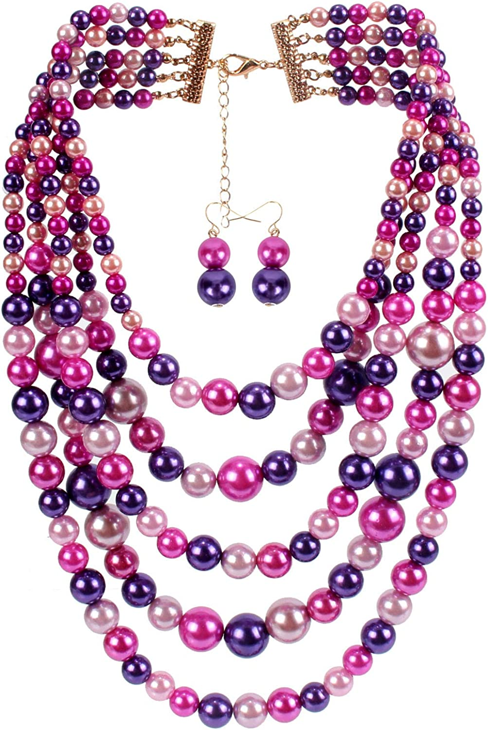 HaHaGirl Women's Multi-Strand Simulated Pearl Strands Necklaces for Women Jewelry