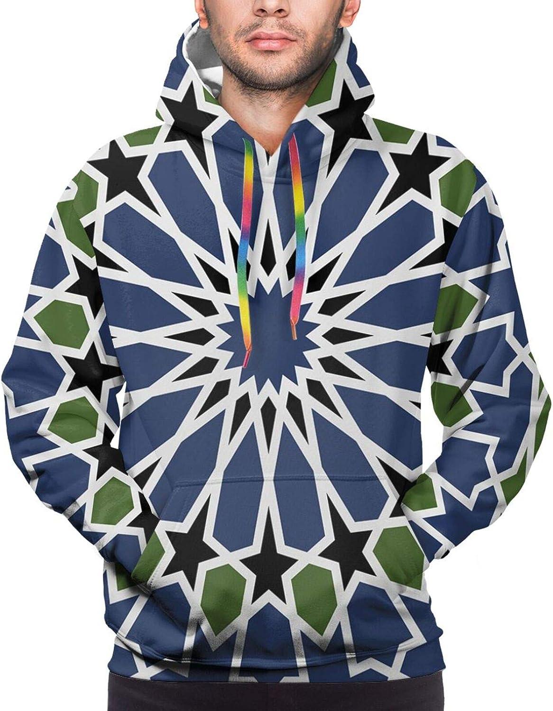 Men's Hoodies Sweatshirts,Mandala Hippie Boho Floral Swirls Detailed Pattern with Emerald Green Backdrop Art