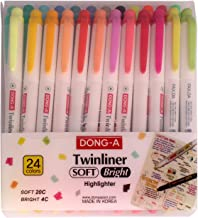 Dong-a Twinliner Accent Pocket Highlighters, Chisel Tip, Round Tip, Soft,Bright Assorted Colored, 24-Count + Index Tape