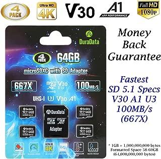4-Pack 64GB Micro SD SDXC Card Plus Adapter – Amplim 4X 64 GB microSD TF Memory Card 100MB/s V30 A1 U3 UHD 4K Video for GoPro Camera Galaxy LG Moto Xperia Nintendo Canon Nikon DJI Drone Fire
