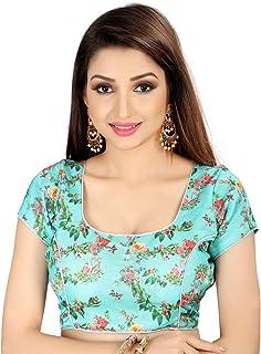 Ocean Fashion Women's Satin Silk Printed Readymade Saree Blouse(Sky Blue;Medium)