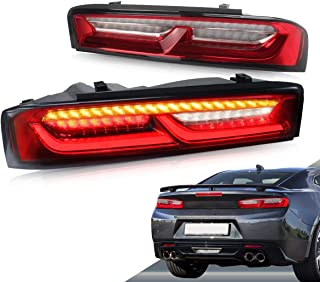 VLAND LED Tail lights for Chevy Camaro 2016 2017 2018 with Amber Sequential Turn Signal(US Plug) YAB-CMR-0278H RC