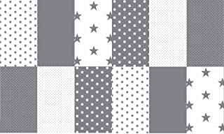 Stoffpaket Patchwork Baumwollstoffe 12 x 25x35cm Grau Weiß