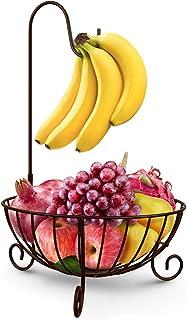 WINOMO フルーツ スタンド フルーツバスケット バナナ吊りフック付き 果物 バスケット ルーツボウル ワイヤ 果物展示棚 モダンな果物かご