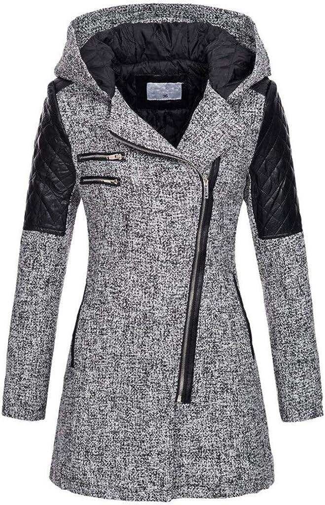 Winter Coats for Women, Women's Elegant Solid Color Mid-Length Thicken Warm Wool Blend Coat