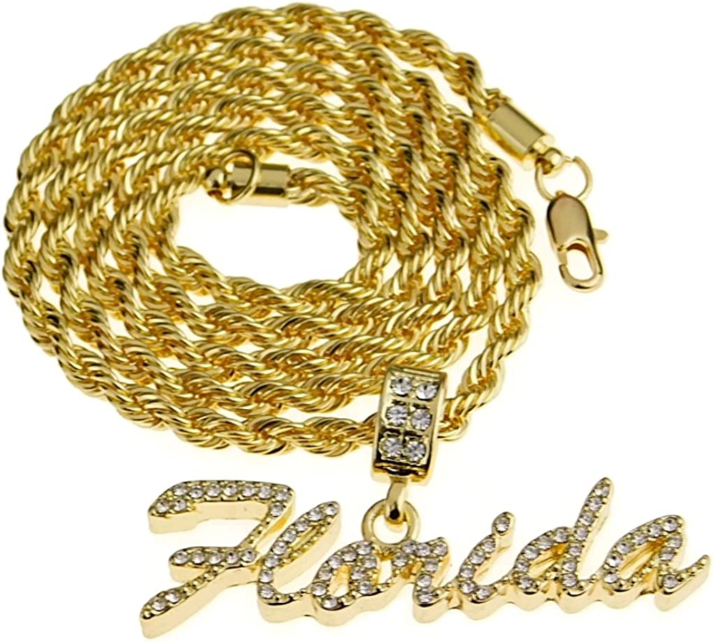 Mens Florida Rope Chain Bling Iced FL Pendant Gold Finish Hip Hop Necklace 24