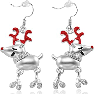 Charm Buddy Rudolph Red Nose Reindeer Christmas Drop Dangly Earrings In Gift Bag