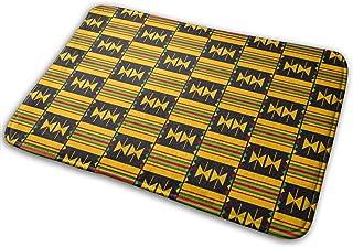 Cloth Kente African Bath Mat Polyester Front Door Mat Bathroom Rugs Carpet for Inside Outdoor 15.7 X 23.5 in
