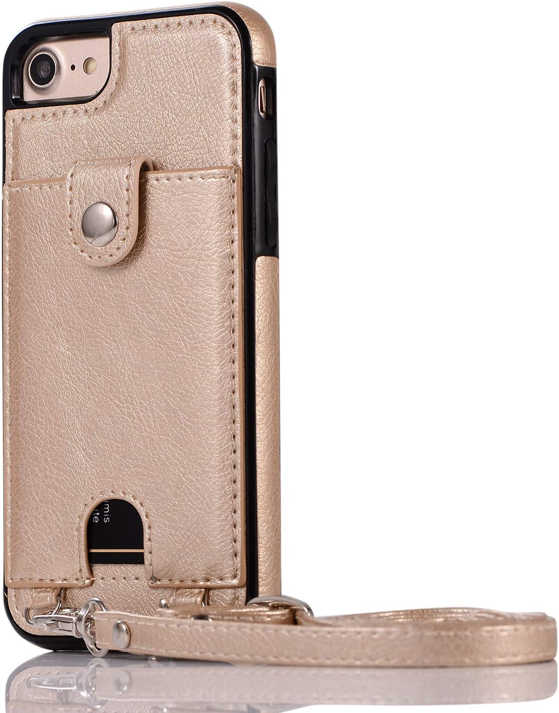 LUVI for iPhone 6 Plus/iPhone 6s Plus Wallet Case PU Leather Card Holder Credit Card Slot Pocket Protective Cover with Crossbody Neck Strap Lanyard Shoulder Strap Case Gold
