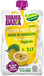 Wanabana 100 Percent Real and Natural Fruit Pulp for Juice Making, Passion Fruit, 17.64 Ounce (Pack of 1)