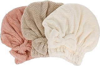 Beaupretty 3 peças de toucas de microfibra para secagem de cabelo, toalha de banho de lã coral com laço grande de secagem ...