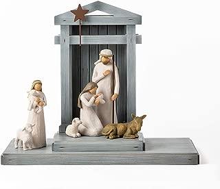 Willow Tree Nativity Deluxe Starter Figures Plus Creche, 7-Piece Set