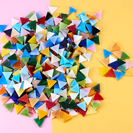 Square/×290,Rhombus/×220,Triangle/×110, YEZZ 620 PCS Mosaic Supply 15 Colors Assorted,Mixed Color Mosaic Glass Pieces with Organizing Container for Home Decoration or DIY Crafts