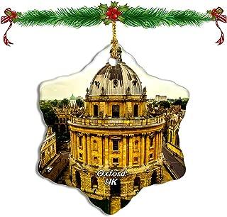 Fcheng UK England University of Oxford Christmas Ceramic Ornament Tree Decor City Travel Souvenir Double Sided Snowflake Sublimation Porcelain Hanging Ornament