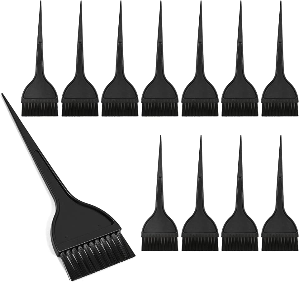 Hair Coloring Dye Brush, Hairdressing Tools (Black, 12 Pack)