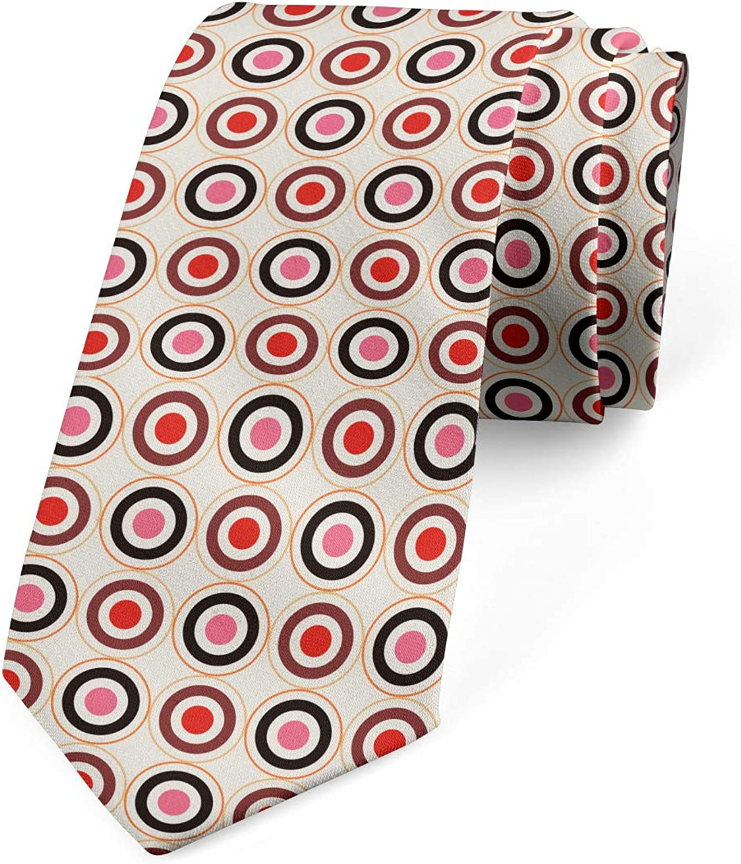 Ambesonne Necktie, Circles Geometrical Art, Dress Tie, 3.7