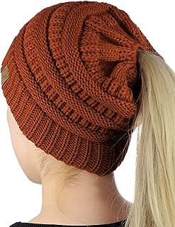 b116356082 C.C BeanieTail Soft Stretch Cable Knit Messy High Bun Ponytail Beanie Hat