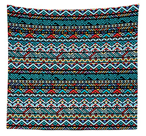 Lunarable Tribal Tapestry Queen Size, Colorful Geometric Mexican Pixel Art Pattern Indigenous Native Style, Wall Hanging Bedspread Bed Cover Wall Decor, 88' X 88', Multicolor