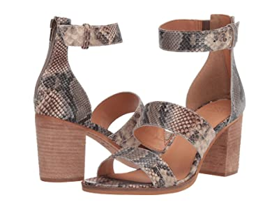 FRYE AND CO. Bryn Stitch Sandal (Taupe Snake Embossed Leather) High Heels