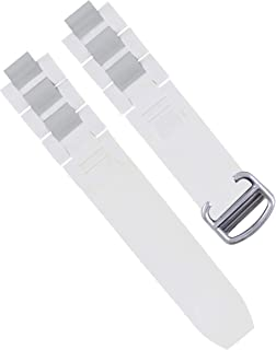 RUBBER + STEEL BAND FIT CARTIER 21 AUTOSCAPH CHRONOSCAPH WATCH WHITE STEEL CLASP