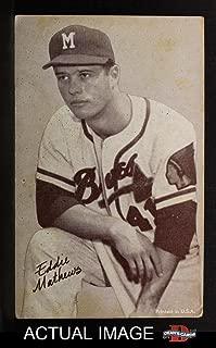 1962 Exhibits Stat Back Eddie Mathews Milwaukee Braves (Baseball Card) Dean's Cards 2 - GOOD Braves