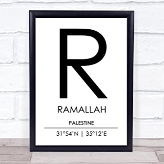 Ramallah Palestine Coordinates World City Travel Quote Wall Art Print