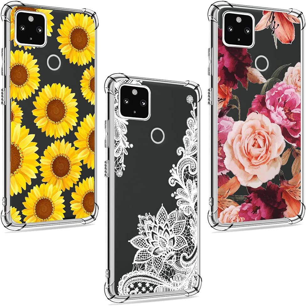 (3 Pack) Pixel 5A Case, Google 5A 5G case, Shock-Absorption Anti-Scratch Crystal Clear Soft TPU Bumper Protective Phone Case Cover for Google Pixel 5A 5G, White Flower, Sun Flower, Purple Flower