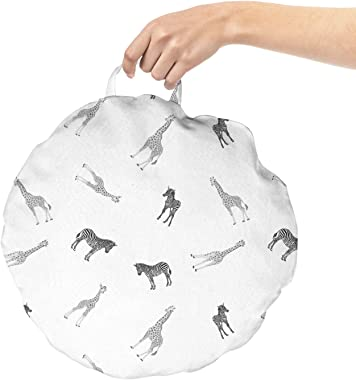 Ambesonne Animal Round Floor Cushion with Handle, African Jungle Related Isolated Pattern of Adult Zebra Giraffe and Their Cu