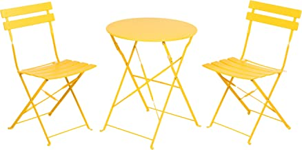 Grand patio Premium Steel Patio Bistro Set, Folding Outdoor Patio Furniture Sets, 3 Piece Patio Set of Foldable Patio Table and Chairs, Yellow