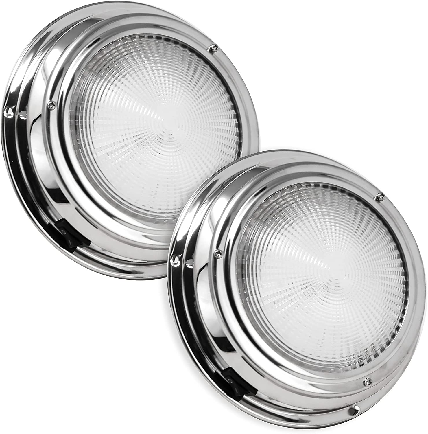 Five Oceans Marine, Boat, RV, Motorhome, Camper, Caravan, Trailer, Cool White LED Dome Light with ON-Off Switch, Polished Stainless Steel, 20 LED Pieces, FO-2625 : Boating Interior Lights : Sports & Outdoors