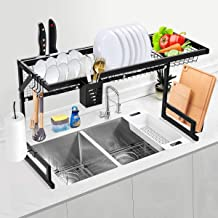 TOOCA Over the Sink Dish Drying Rack, Large Dish Drying Rack with Utility Hooks for Kitchen Counter Shelf Storage Dish Rac...