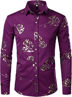 ZEROYAA Mens Hipster Gold Rose Printed Slim Fit Long Sleeve Dress Shirts/Prom Performing Shirts