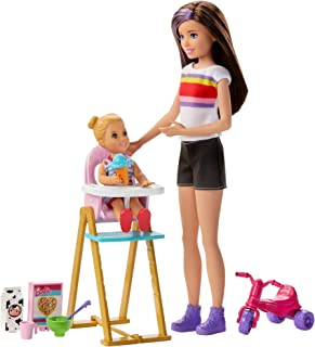 Barbie Skipper Babysitters Inc. Feeding Playset with Babysitting Skipper Doll, Toddler Doll with Feeding Feature, High Chair, Tricycle and Food-Themed Accessories for Kids 3 to 7 Years Old