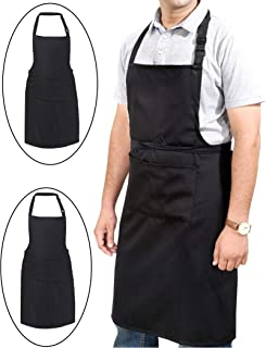 Ruvanti 2 Pack Professional Grade Black Aprons for Men/Women.Adjustable Neck Strap and Size M to XXL(Large 34