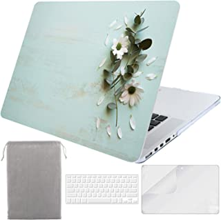 Sykiila for MacBook Pro 15 Inch with Retina Display Case for Model A1398, 2012-2015 Released Hard Cover 4 in 1 with HD Screen Protector & TPU Keyboard Cover & Sleeve - Floral Wood