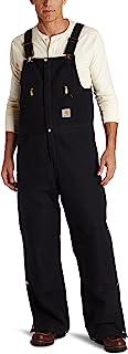 Carhartt Men's Quilt Lined Zip To Waist Bib Overalls R38 - Black - 36W x 34L