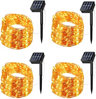 Solar String Lights, 4 Pack 200 LED Solar Fairy Lights 66 Feet 8 Modes Copper Wire Lights Waterproof Outdoor String Lights...