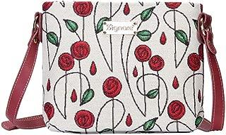 Red and White Mackintosh Rose Crossbody Bag by Signare/Female Designer Art Floral Fashion Lightweight Shoulder / XB02-RMSP