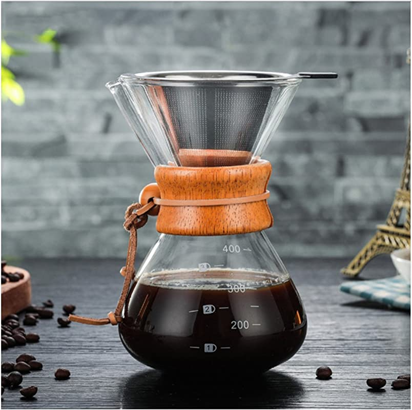 ATK 400ml Pour Over Coffee Dripper Manual Coffee Maker Paperless Stainless Steel Filter Glass Carafe Pot Percolators